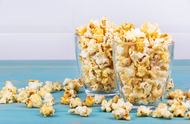 Two cups of popcorn. Homemade popcorn. Traditional movie food