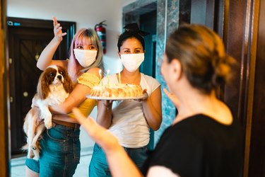 Family celebrating her Mothers birthday during isolation