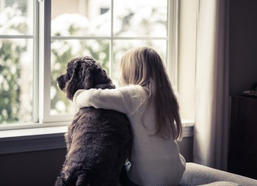 Little girl and her dog looking out the window.