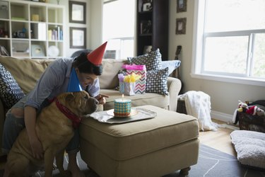 Woman and dog celebrating birthday with cake