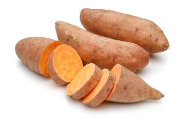Sweet potato with slices
