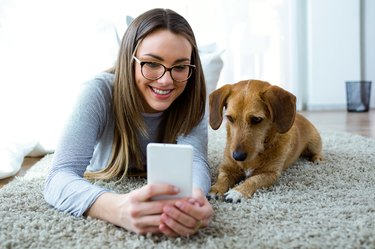 Young woman with her dog using mobile phone at home.