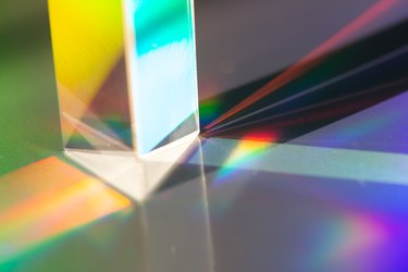 Triangular prism and prism of rainbow light
