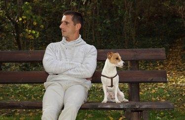 Man and dog in quarrel.