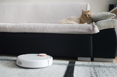 Robotic vacuum cleaner cleaning the room.