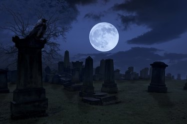 Spooky night at cemetery