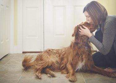 Caucasian woman kissing dog on floor