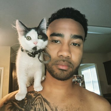Man with kitten sitting on shoulder