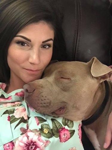dog naps on human mom
