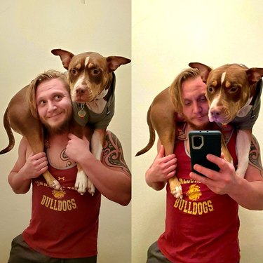 Man with pit bull type dog draped over his shoulders