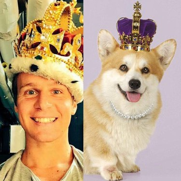 jonathan groff and corgi in crowns