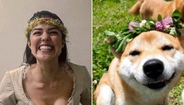 ari afsar and a dog with flower crowns and big smiles