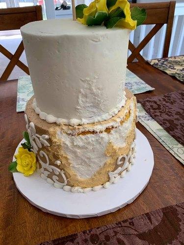dog eats wedding cake