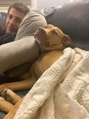 man and dog on couch