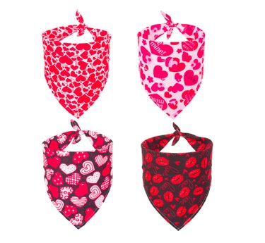 four valentine's themed dog bandanas