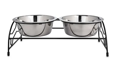 A set of elevated stainless steel dog food bowl and water bowl
