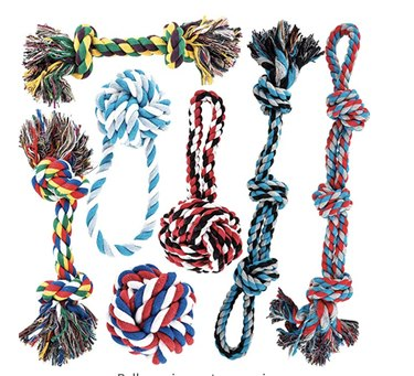 A medley of different styles of rope chew toys for dogs