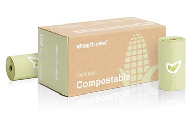 a box and two rolls of compostable dog poop bags