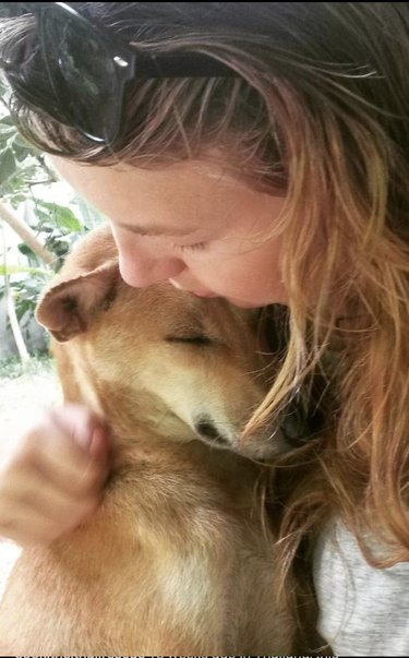 woman rescues stray dog from Thailand