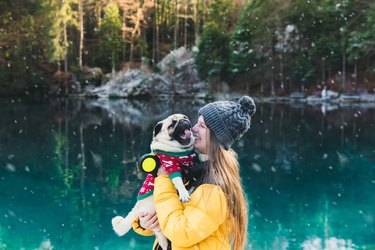 Young woman and cute dog meets snowy Christmas Day at the beautiful lake in Switzerland