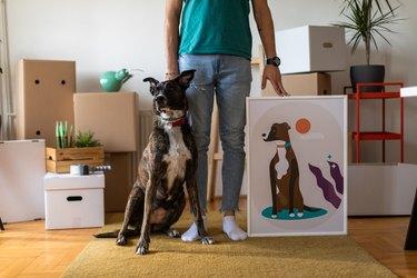 dog with portrait