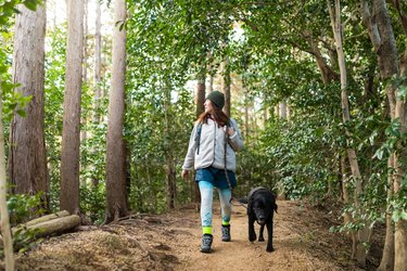 Woman hiking with her dog on a mountain forest path