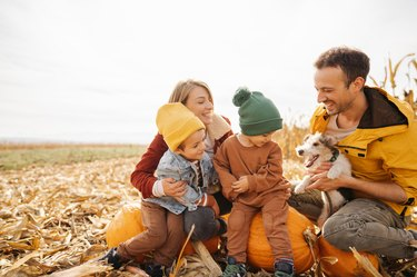 Family in a pumpkin patch