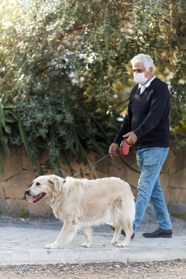 senior man in mask with his pet dog on street because of air pollution and epidemic in city. Protection against virus, infection