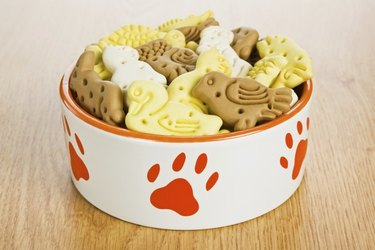 White and red dog bowl with dog cookies.