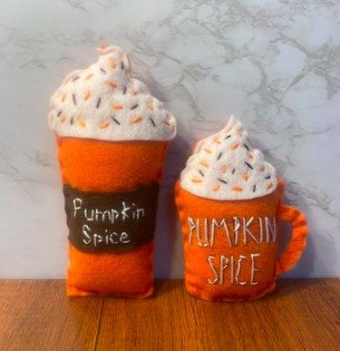 Pumpkin Spice Latte Catnip Toy by PawsitiveVibePrints