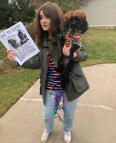dog dressed as will byers from strangers things