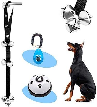 Supet 3/4 Pack Dog Door Bells Premium Dog Potty Training Bells and Dog Training Clicker