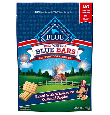 Blue Buffalo Red White & Blue Bars Crunchy Dog Biscuits, 11 oz.