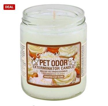 Pet Odor Exterminator Creamy Vanilla Deodorizing Candle, 13-oz Jar