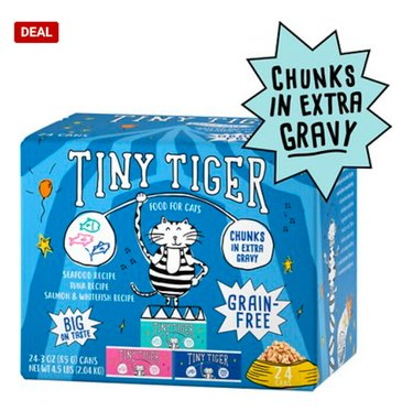 Tiny Tiger Chunks in EXTRA Gravy Seafood Recipes Variety Pack Grain-Free Canned Cat Food