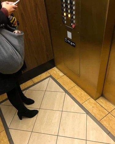 Dog peeking out of woman's purse on elevator