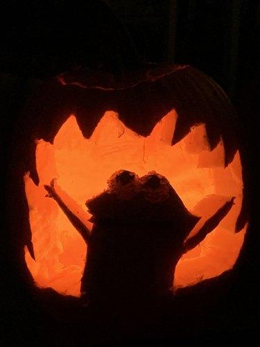 dog eats halloween pumpkin