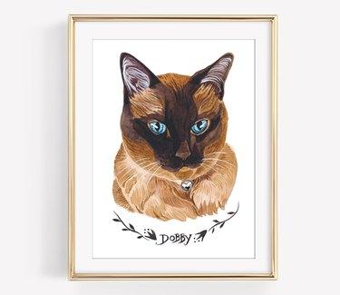 custom cat portrait watercolor