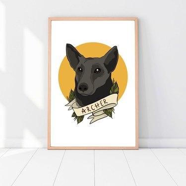 tatoo style custom dog portrait