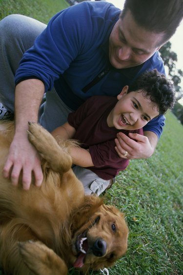 Father and his son playing with their dog
