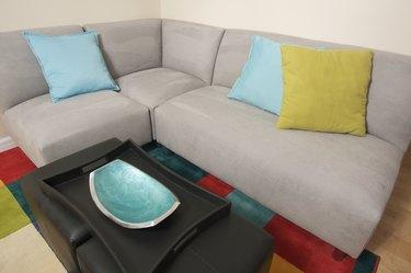 Grey Suede Couch Corner Area