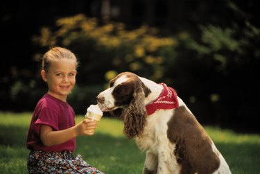 Girl and dog eating her ice cream
