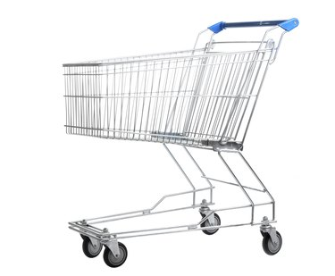 Empty shopping cart isolated