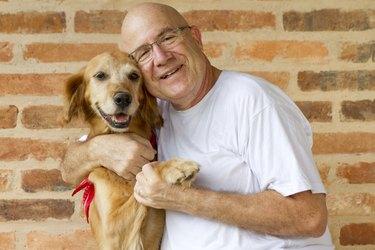 man and dog friend