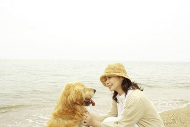 Mature woman petting her dog at a beach