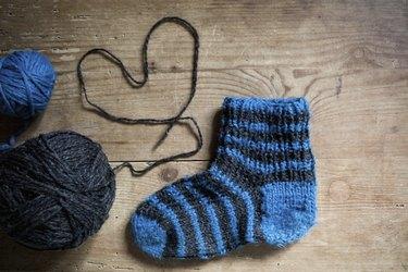 knitting socks with love, ball of wool