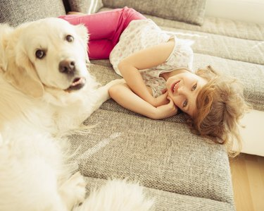 Young girl lying on sofa with pet dog