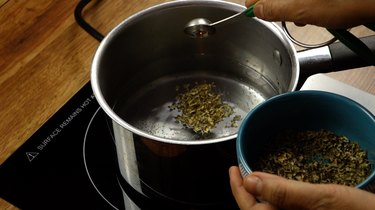 """Making catnip """"tea"""" spray for DIY cat toys out of wine corks."""