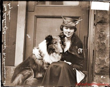 Vintage photograph of a woman and a collie