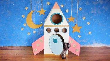 Cat sitting inside rocket ship